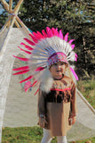 PRICE REDUCED - K25- From 2-5 years Kid / Child's: Pink Indian Headdress 20,5 inch. – 52 cm