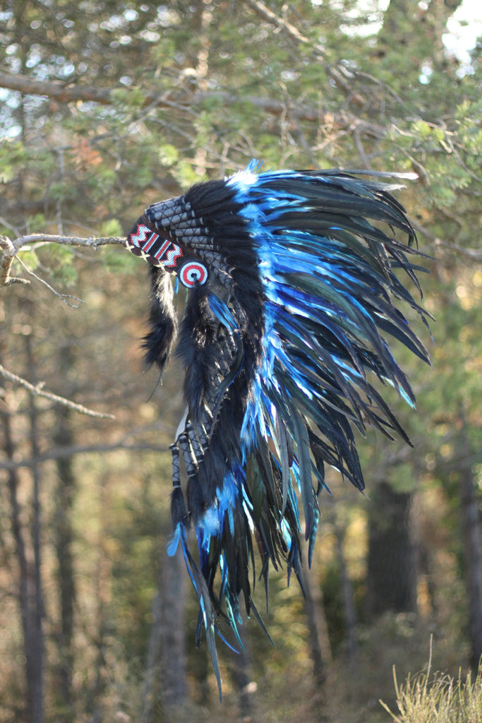Y06 - PRICE REDUCED - Indian Native American Style , War bonnet , Medium Electric Blue Feather Headdress (36 inch long )..