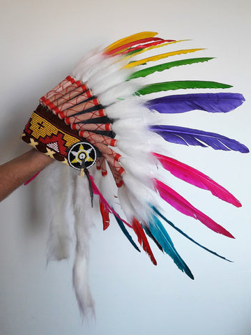 K21- From 5-8 years Kid / Child's: Rainbow swan feather Headdress 21 inch. – 53,34 cm.