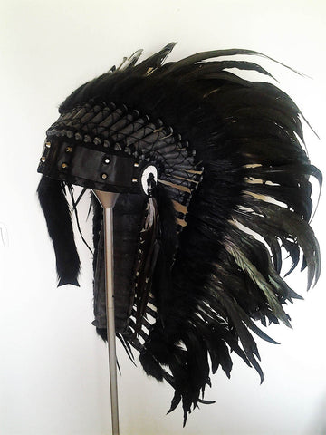 N90- Medium Black Headdress, native american Style warbonnet