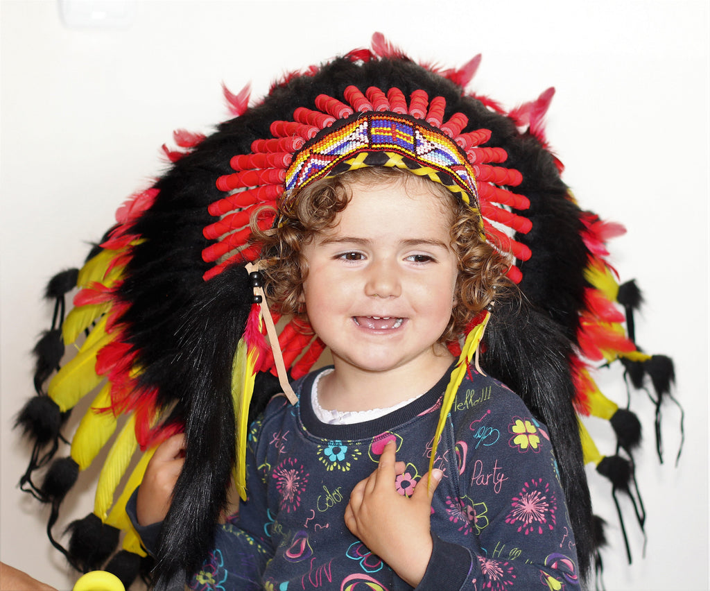 K30 -  For Kid / Children From 5-8 years old: black ,red and yellow Chief indian Feather Headdress  for the little ones