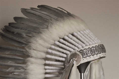 N94- Medium Silver Feather Headdress, native american Style warbonnet