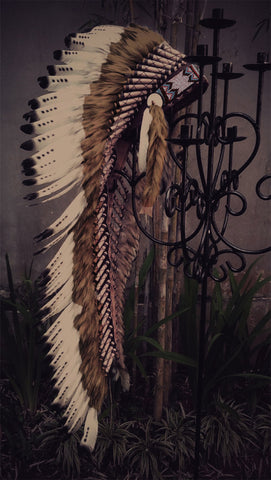 Z32 - Extra Large  Black and white Feather Headdress (43 inch long ).