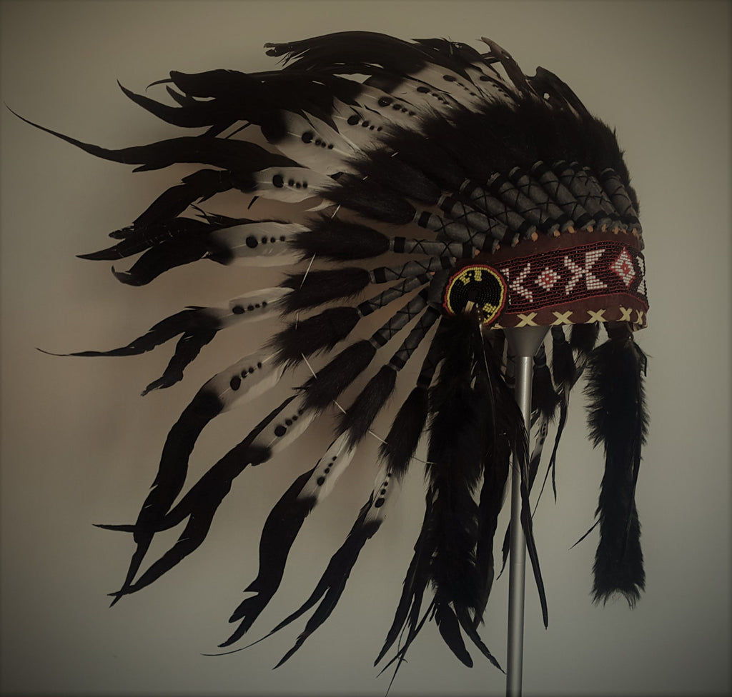 X13 Indian Headdress Double Feather black and white / warbonnet double feather (30 inch / 75 cm)