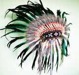 X56 - Green Feather Headdress / Warbonnet. Native American Style
