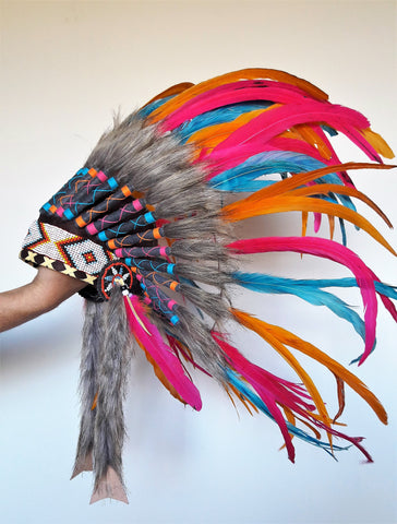 PRICE REDUCED - N26 - From 2-5 years Kid / Child's: Turquoise , orange, pink  Headdress 20,86 inch. – 53 cm