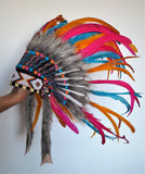 N27 - From 5-8 years Kid / Child's: Turquoise , orange, pink  and black feather Headdress 21 inch. – 53,34 cm.