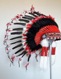 X54 -  Indian Style Feather Headdress /black and red warbonnet  (30 inch / 75 cm)