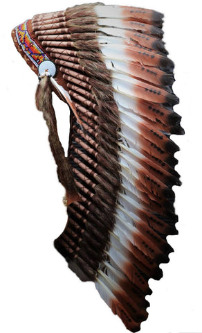 Feather Headdress Medium three colors brown 36inch long PRICE REDUCED Y18 .