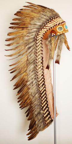Z33XXL - Extra Large Brown Feather Headdress (51 inch long )