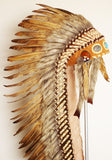 Z33 - Extra Large Brown Feather Headdress (43 inch long )