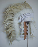 N85 -  Native American inspired Medium Cream color  Feather Headdress (36  inch long )/war bonnet