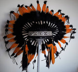 X56 -  Orange and black Chief indian Feather Headdress .