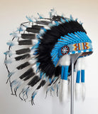 X45 -  Indian Style Feather Headdress /black and blue warbonnet  (30 inch / 75 cm)