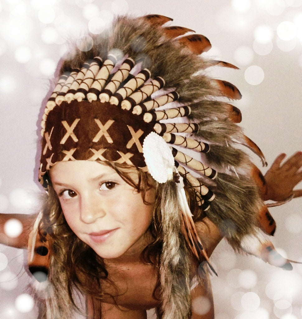 N22- For Children: three colors brown Feather Headdress. From 5 to 8 years old.