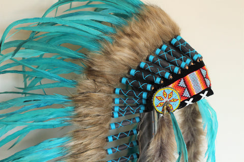 PRICE REDUCED . Z34 -  Extra Large Turquoise Feather Headdress (43 inch long )