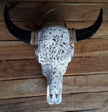 Small Faux Hand Carved  Roses Buffalo Skull with long horns made with Resin