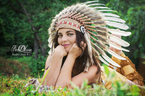 X41 -  Indian Style Feather Headdress / warbonnet white feathers (30 inch / 75 cm)