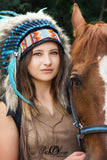 Y34 - PRICE REDUCED Medium Indian Style  Turquoise Feather Headdress (36 inch long ).