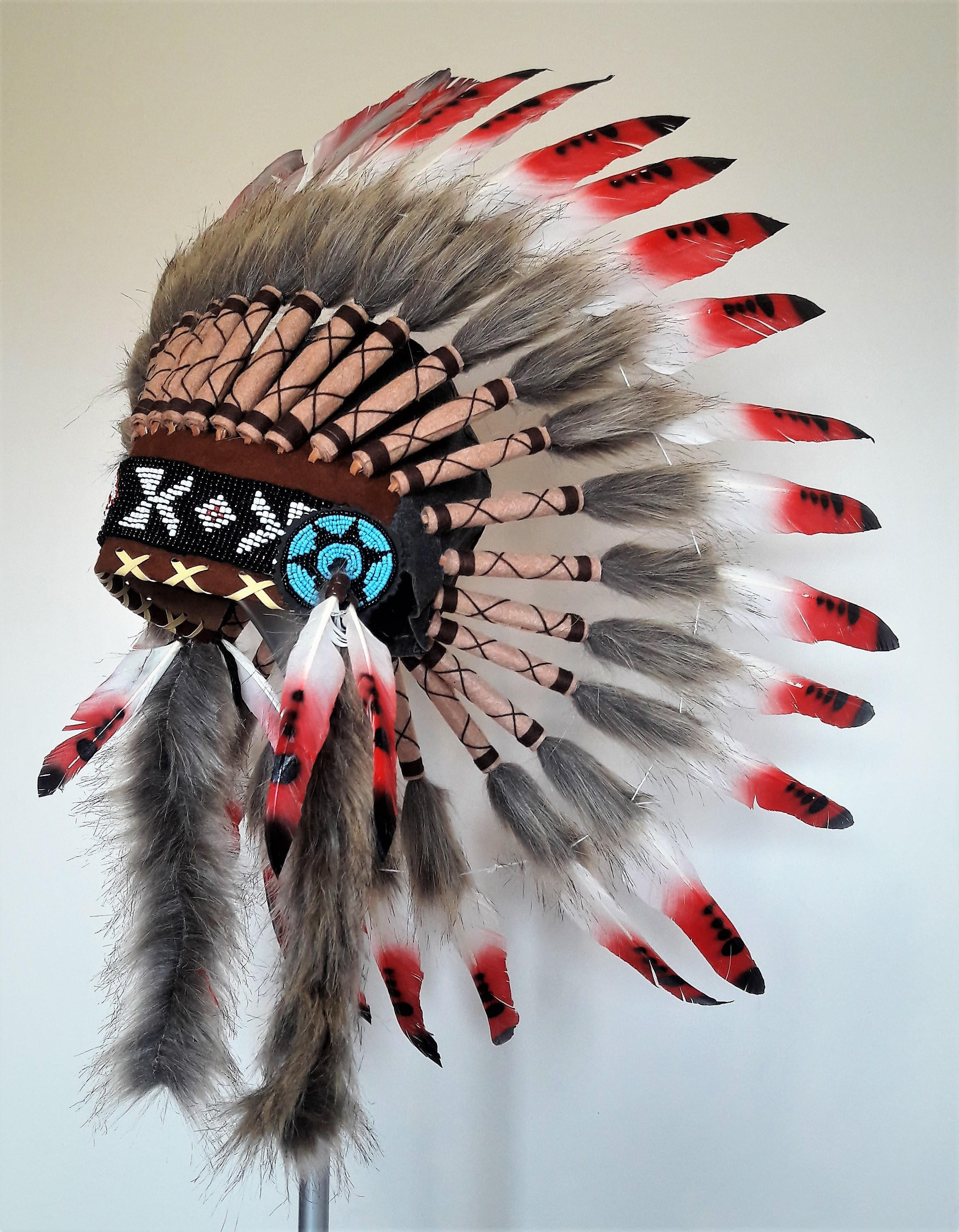 Extra Long Native American Style Headdress ADJUSTABLE Full Turquoise Rooster