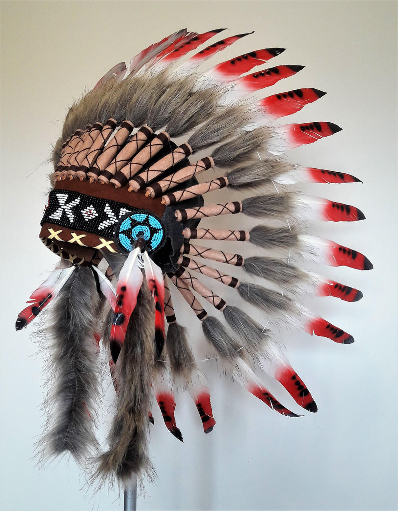 X20 - Three colors Red Chief Feather Headdress /native american Style Warbonnet