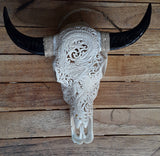 Small Faux Hand Carved  Dragon Buffalo Skull with long horns made with Resin