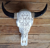 Small Faux Hand Carved  Tribal Buffalo Skulls with long horns made with Resin