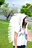 N81 - Medium Indian  White  Feather Headdress (36 inch long)