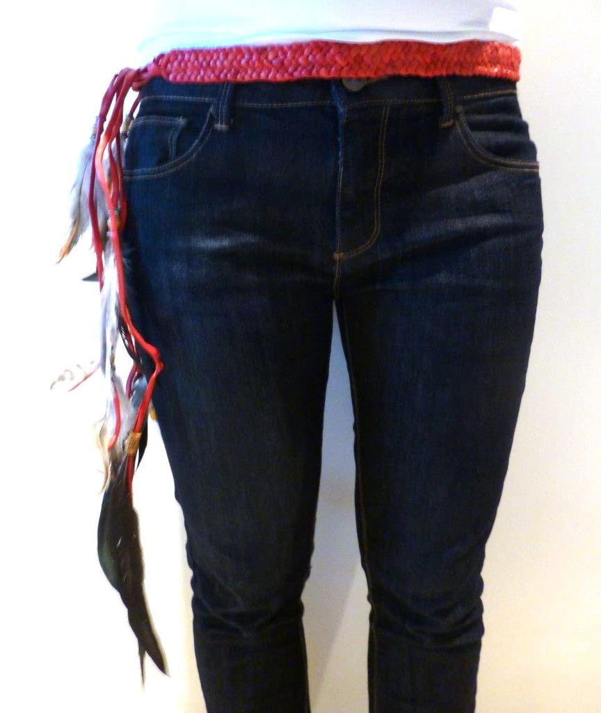 BE6-Red Braided leather Belt or Headband with feathers, plaited suede belt with feathers