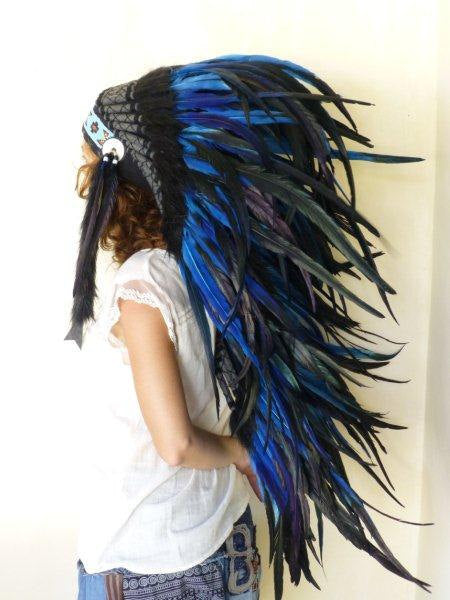 Medium Electric Blue Feather Headdress (36 inch long )