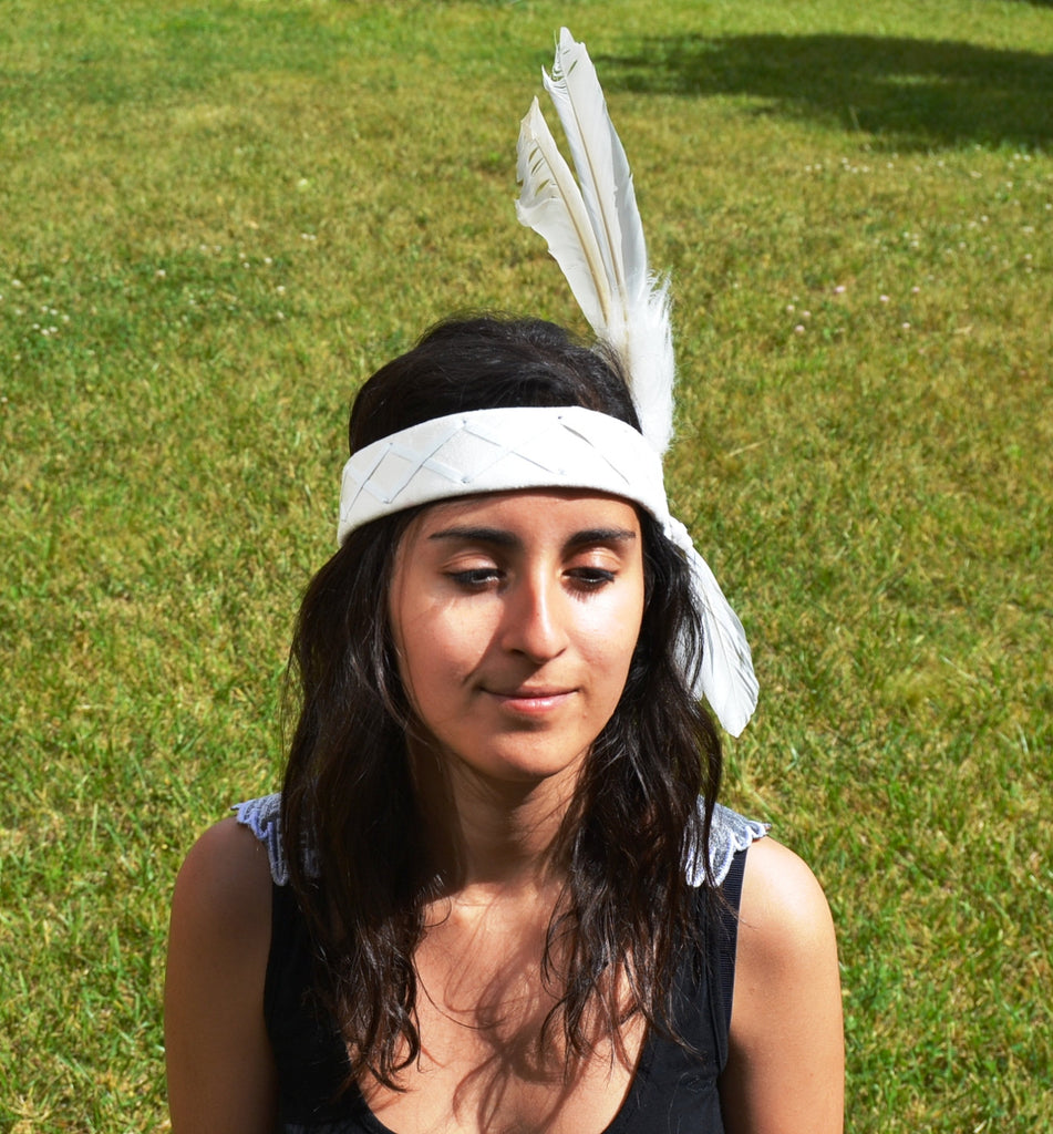 H8-White leather headband for kids with large White Feathers