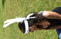 H8-White leather headband with large White Feathers