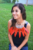 J12-Orange sunset Feather Necklace