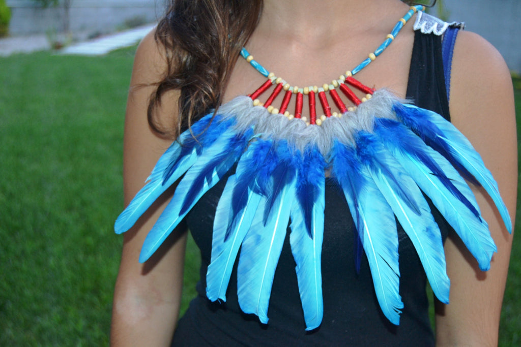 J16 - Turquoise and electric blue  Feather Necklace