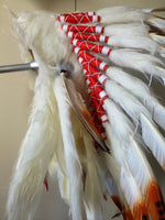 S4- Brown Feather Headdress with white fur