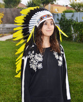 PRICE REDUCED Y13 Medium Indian yellow Feather Headdress / Handmade Native American Style Warbonnet (36 inch long )
