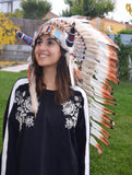 Y25 Medium three colors brown , Feather Headdress with horns ( 36inch long)