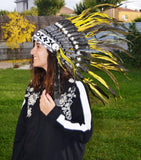 X35 S32-Yellow and shinning green feather Headdress