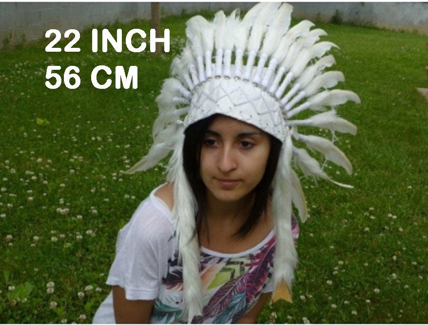 K08 SALE - For grown-up children: White Headdress / Size 22 inch with adjutable elastic band