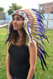 PRICE REDUCED Y22 Medium Purple Feather Headdress / Warbonnet (36 inch long )