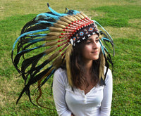 S37-Indian Light Blue / Turquoise  and dark Feather Headdress / Warbonnet