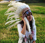 X50 White Feather Headdress / Warbonnet