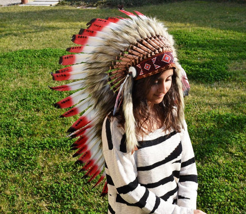PRICE REDUCED Y07 Medium Red and Black Feather Headdress ( 36 inch long )
