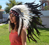 X12 Three colors black and white Indian Style Feather Headdress / warbonnet double feather (30 inch / 75 cm)