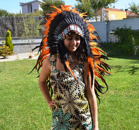 Y08 Medium Orange Feather Headdress (36 inch long )/ war bonnet. Perfect for halloween!