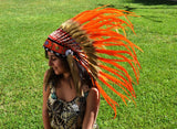 S15- Sunset / Orange Feather Headdress