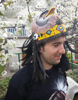 X30 Real Feather Warrior Indian Headdress  with  Horns, Native American Style Costume Hand Made and Horns WarBonnet Hat