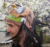 X29 Real Feather Warrior Indian Headdress  with  Horns, Native American Costume Hand Made WarBonnet Hat