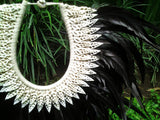 Papua Native Warrior necklace with Black Feathers and white shells