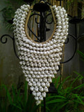 Papua Native Warrior necklace Full of natural white shells